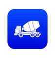 truck concrete mixer icon digital blue vector image