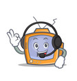 Tv character cartoon object with headphone vector image