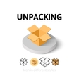 Unpacking icon in different style vector image vector image