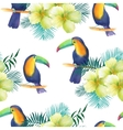 Watercolor seamless pattern with toucans vector image vector image
