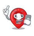 with phone gps navigation pin on character cartoon vector image
