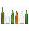 Realistic glass 3d blank bottle Bottles vector image