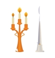 Retro candlesticks with candles flat vector image