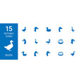 15 duck icons vector image vector image