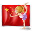 A gymnast in front of the Chinese flag vector image vector image