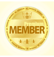 Badge with title Premium member in gold color vector image vector image