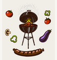 barbecue grill set in vintage style drawn hand vector image vector image