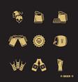 beer icons set isolated on black background vector image vector image