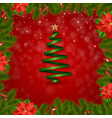 border fir-tree branches with poinsettia vector image