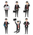 businessman characters in variety of situations vector image vector image