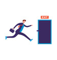 businessman run to open exit door vector image