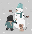 child creates snowman vector image vector image