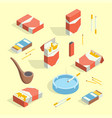 cigarettes accessories smokers signs 3d icon set vector image