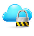 cloud computing and padlock on white vector image vector image