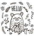 cute bear hand drawn vector image