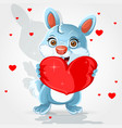 cute little bunny hold soft red heart-pillow vector image vector image