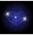 Dark blue circuit heart background vector image vector image