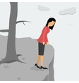 Depressed woman on a cliff looking down vector image vector image