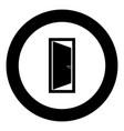 door icon black color in circle vector image vector image