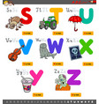 educational cartoon alphabet set for kids vector image vector image