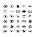 eye icons set outline style vector image