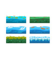 fantasy platforms set water and ice textures vector image vector image