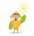 funny owl in knitted hat with bright sparkler vector image vector image