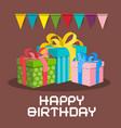 gift boxes happy birthday retro card vector image vector image