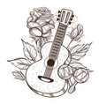 guitar maracas and roses outline isolated on vector image vector image