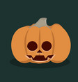 halloween pumpkin with flat design vector image vector image