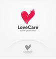 heart and hand logo design vector image vector image