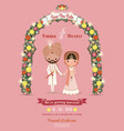Indian Wedding Bride Groom Cartoon Romantic Pink vector image vector image