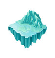 isometric ice island with big frozen mountain and vector image