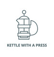kettle with a press line icon linear vector image vector image