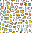 Kitchen tools and meal silhouette icons Seamless vector image vector image