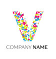 letter v logo with blue yellow red particles vector image vector image