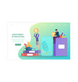 male and female characters are investing money vector image