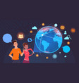 man and woman over world globe with social media vector image vector image