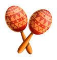 maracas mexican icon cartoon style vector image