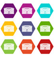 market icon set color hexahedron vector image vector image
