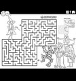 maze with cartoon kids on halloween coloring book vector image vector image