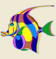 monster fish with a large fin - a great design vector image vector image