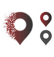 moving pixelated halftone map marker icon vector image