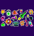 pop art bright fashion patches set vector image