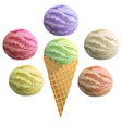 realistic ice cream with waffle cone vector image