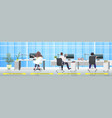rear view businesspeople sitting at workplaces vector image vector image