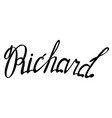 richard name lettering vector image vector image