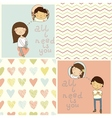 Set with cute kids card and lovely seamless patter vector image