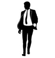 silhouette of a walking man in a suit and tie vector image vector image