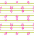 small pineapple on striped seamless pattern vector image